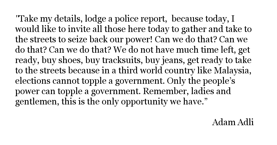 Auszug aus der Rede, für die Adam verhaftet wurde.